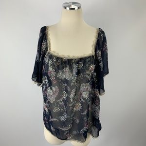 rue 21 Small Blouse Floral Romantic Sheer Peasant